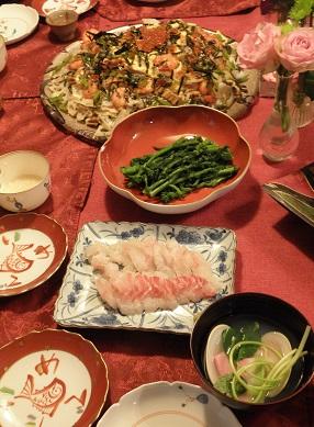 ちらし寿司・鯛昆布〆・菜の花・甘酒